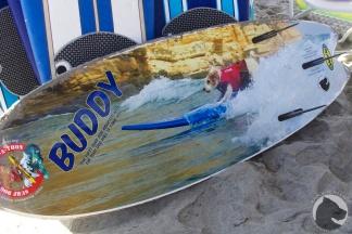 Helen Woodward Surf-a-thon surf board